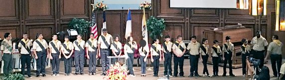 (above, Children on stage for Fullerton Pathfinder Induction on October 31, 2015.)