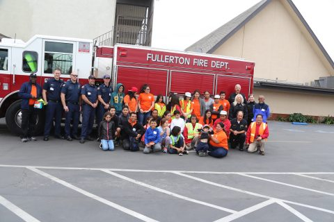 (above, Pathfinders with Fullerton Fire Department at Feb 20, 2017 Red Alert Fire Disaster Drill event)